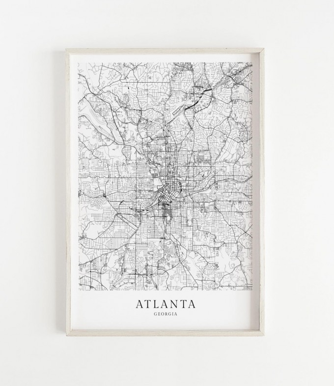 Karte ATLANTA als Poster im skandinavischen Stil von Skanemarie
