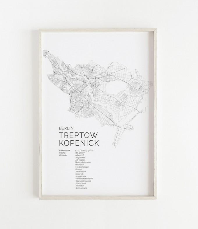 Karte BERLIN Treptow Köpenick als Print im skandinavischen Stil von Skanemarie