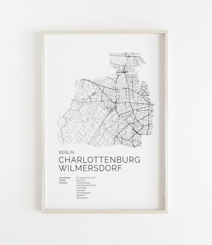 Karte BERLIN Charlottenburg Wilmersdorf als Poster im skandinavischen Stil von Skanemarie