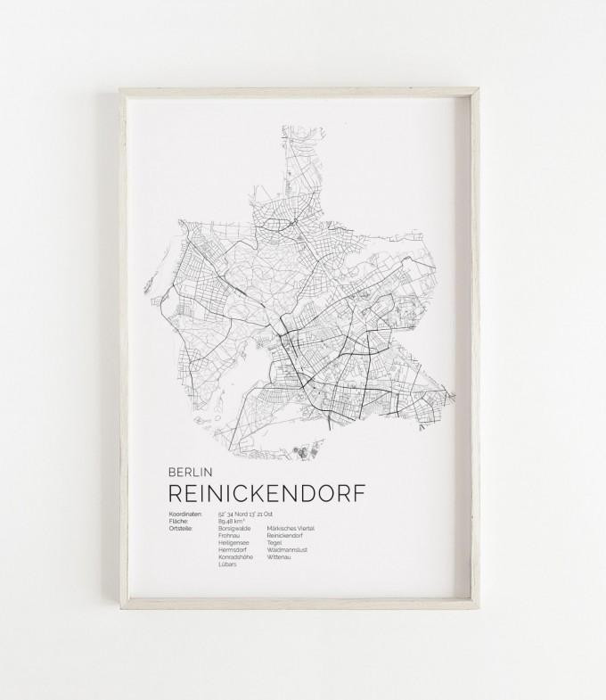 Karte BERLIN Reinickendorf als Print im skandinavischen Stil von Skanemarie