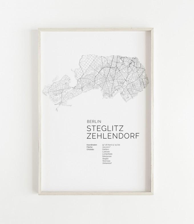 Karte BERLIN Steglitz Zehlendorf als Print im skandinavischen Stil von Skanemarie