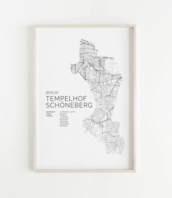 Karte BERLIN Tempelhof Schöneberg als Print im skandinavischen Stil von Skanemarie