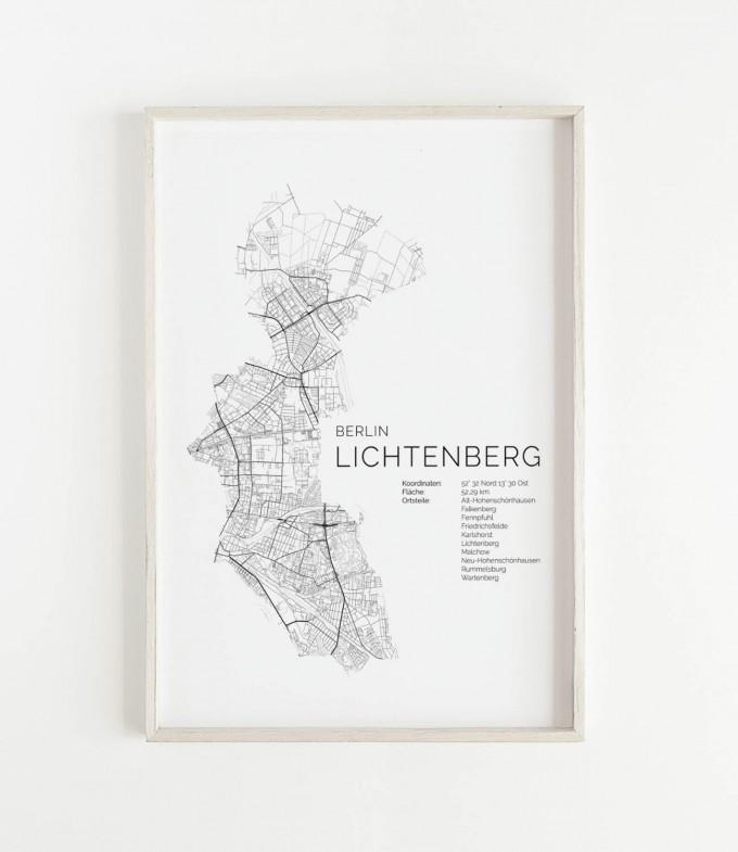 Karte BERLIN Lichtenberg als Print im skandinavischen Stil von Skanemarie