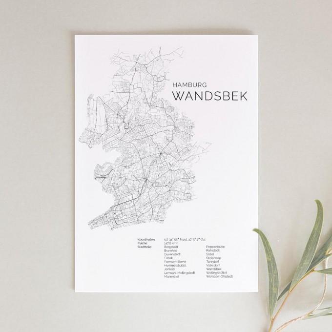 Hamburg Wandsbek Karte als hochwertiger Print - Posterdruck im skandinavischen Stil von Skanemarie