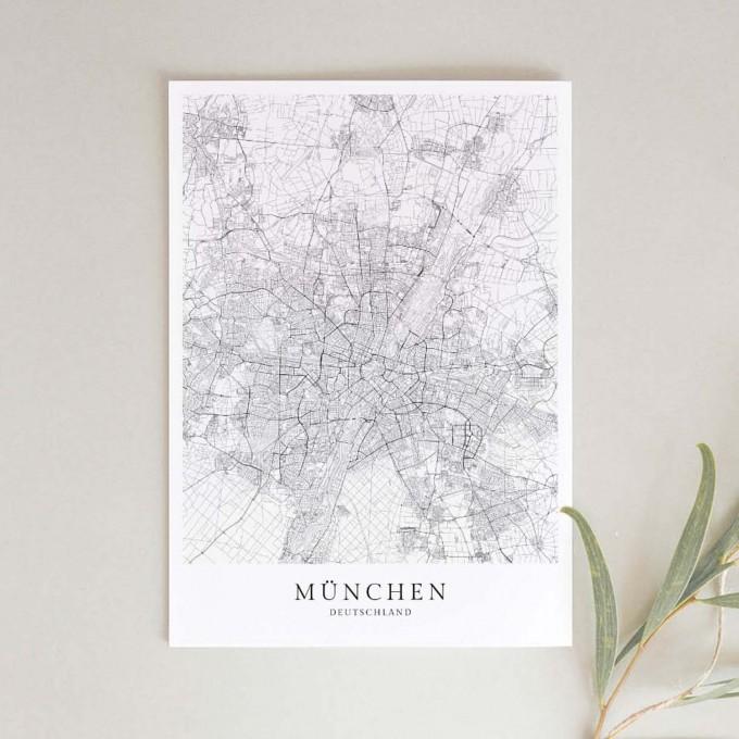 München Karte als hochwertiger Print - Posterdruck im skandinavischen Stil von Skanemarie