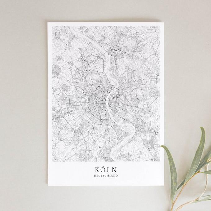 Köln Karte Deutschland.Köln Karte Als Hochwertiger Print Posterdruck Im Skandinavischen Stil Von Skanemarie