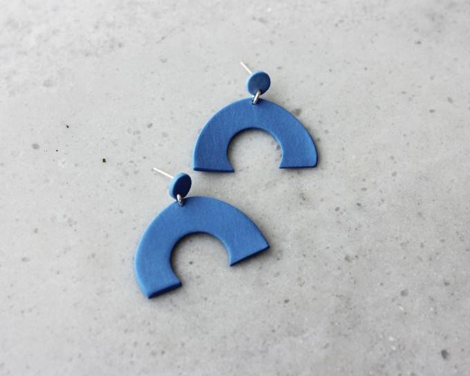 Skelini - Kobaltblaue, matte, Porzellanohrringe