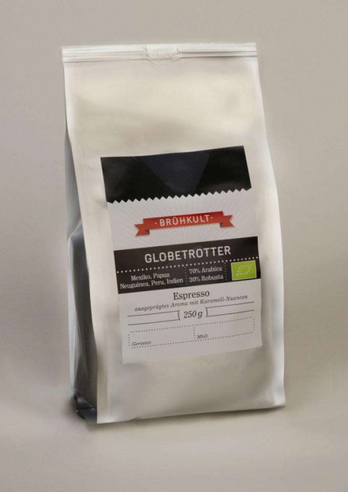 """BRÜHKULT-Espresso """"Globetrotter"""" (Bio) 250g (ganze Bohne)"""