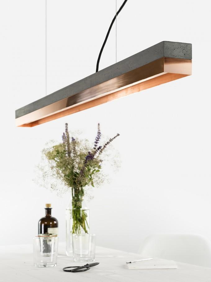 GANTlights - Beton Hängeleuchte [C1]dark/copper Lampe Kupfer minimalistisch
