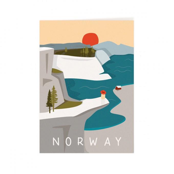 Roadtyping Postkarte Norwegen