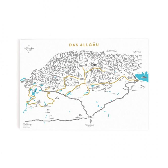 Roadtyping Postkarte Das Allgäu