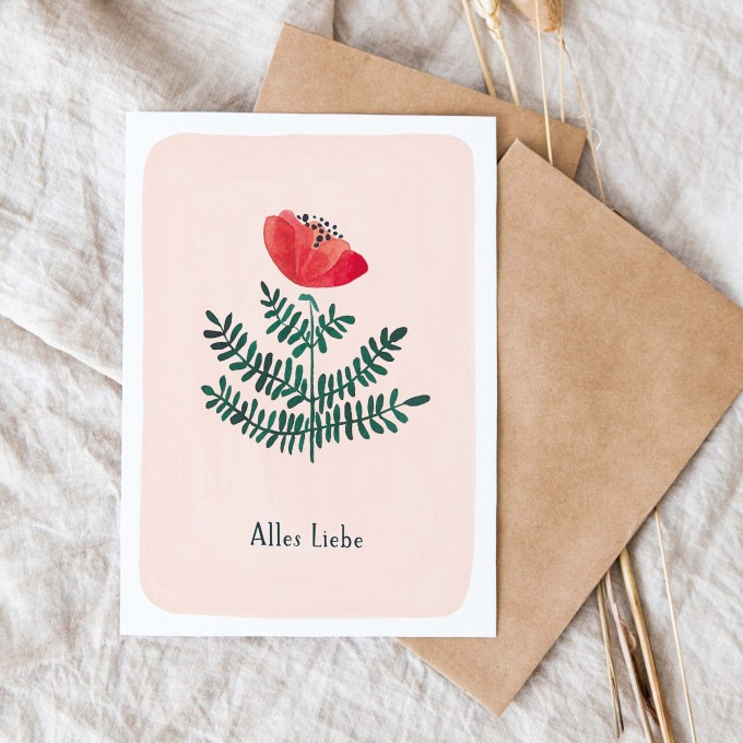 "Paperlandscape   Faltkarte ""Alles Liebe""   botanisch   Pflanzen   Aquarell Wildblume rot"
