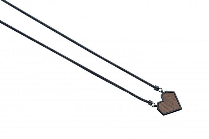 """BeWooden Halskette mit Anhänger - Holz Detail - Motiv Herz - """"Apis Nox Necklace Heart"""""""