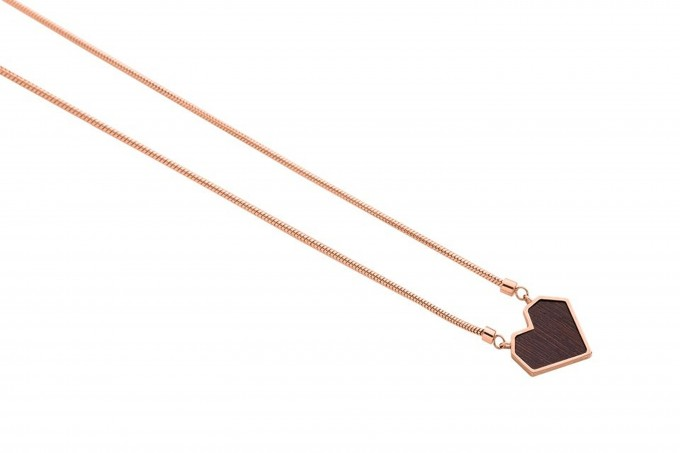 "BeWooden Halskette mit Anhänger - Holz Detail - Motiv Herz - ""Rose Necklace Heart"""