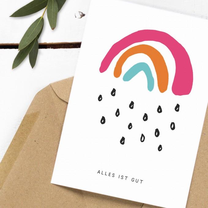 Kleine Papeterie // Alles ist gut // Postkarte // Regenbogen