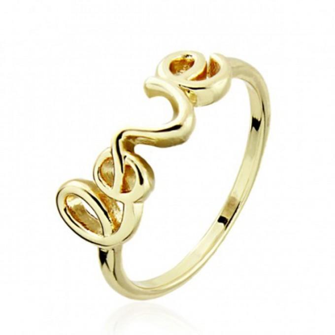 Anoa Ring 'love' vergoldet