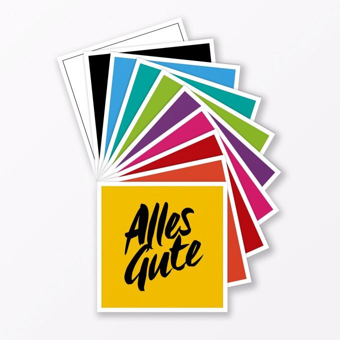 """TYPOP 10-teiliges Set Glückwunschkarten """"Alles Gute"""" quadratisch - verschiedene Farben (ohne Umschläge)"""