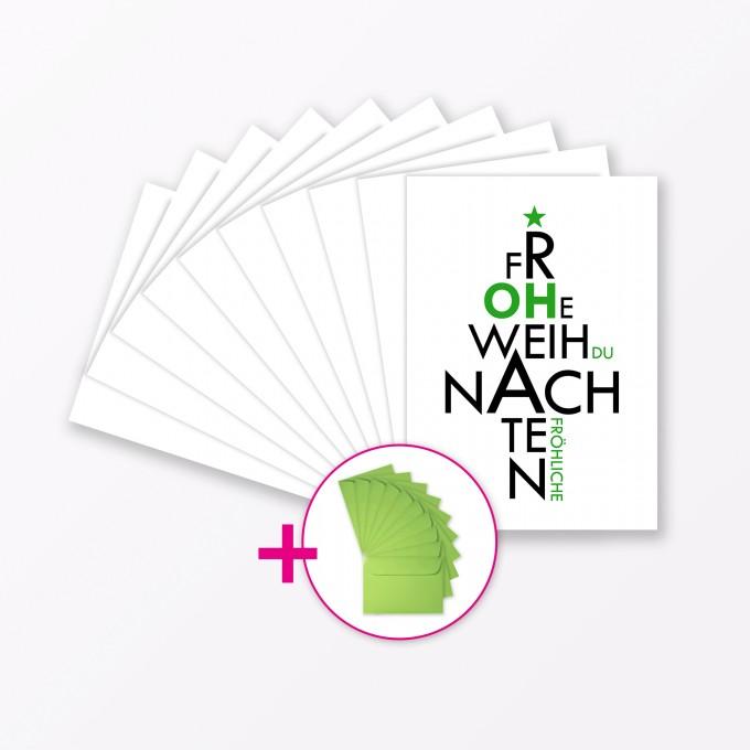 """TYPOP 10-teiliges Set Weihnachtskarte """"Oh du Fröhliche"""" A6 inkl. 10 Umschläge"""
