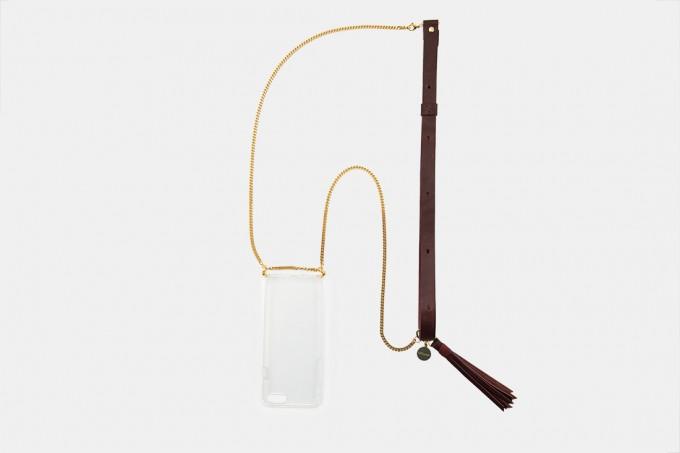 Lapàporter – iPhone Handykette aus Metall mit Lederriemen, bordeaux