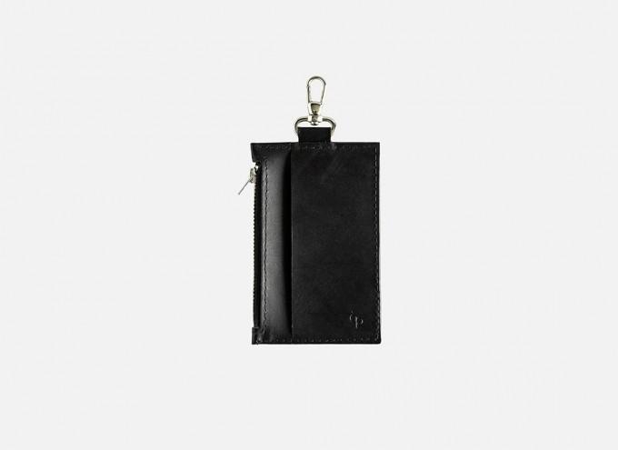 Lapàporter – Mini-Lederportemonnaie mit Karabiner, schwarz