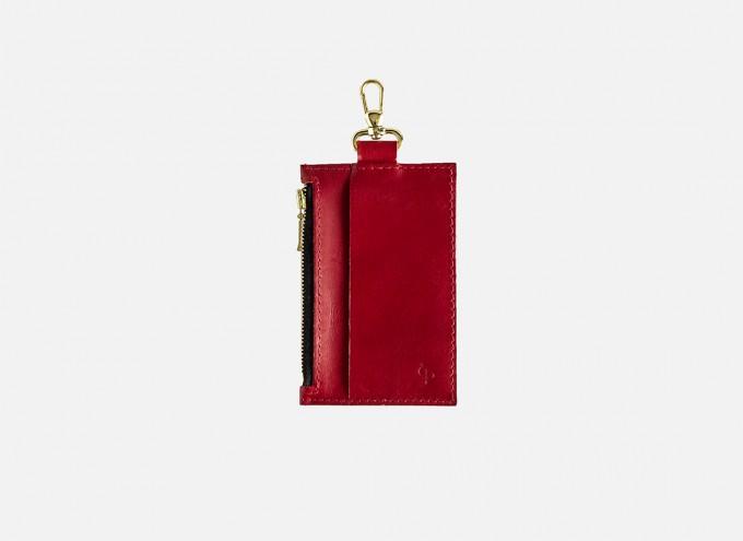 Lapàporter – Mini-Lederportemonnaie mit Karabiner, rot