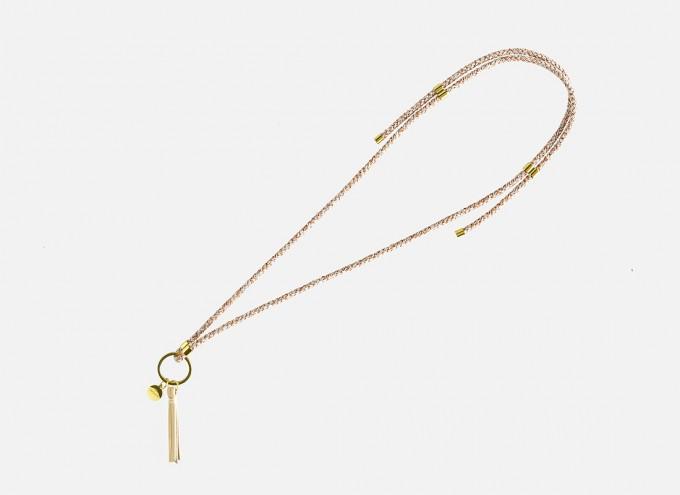 Lapàporter - Schlüsselanhänger zum umhängen mit Lederquaste – Mélange, hellgrau/mandarin
