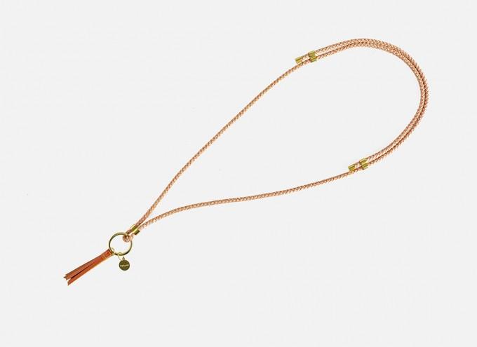 Lapàporter – Schlüsselanhänger zum umhängen mit Lederquaste – Mélange, Lachs /Sand