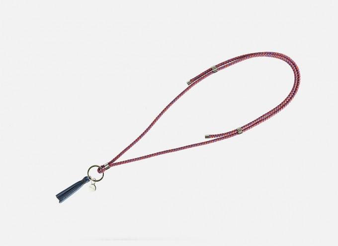 Lapàporter - Schlüsselanhänger zum umhängen mit Lederquaste – Mélange, ultramarine/koralle