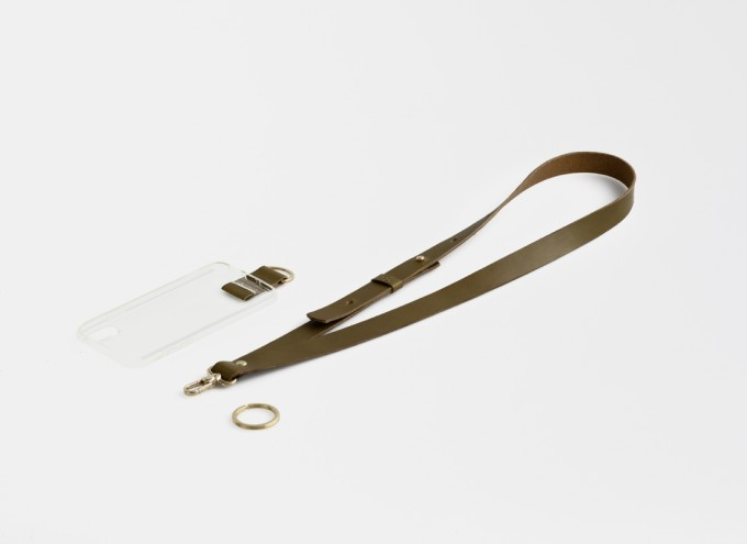 Lapàporter – Handykette Mit breitem Lederriemen, oliv