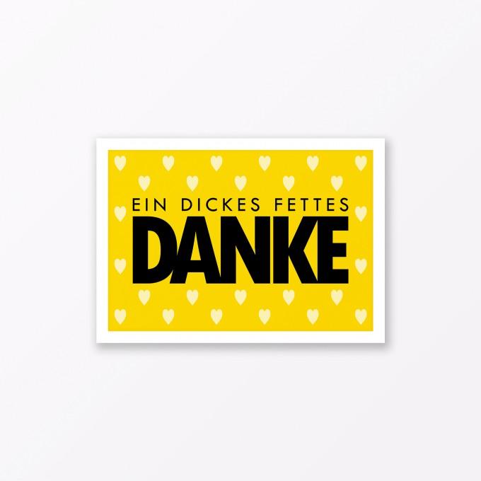 "TYPOP Postkarte ""Danke"" mit Herz GELB A6"