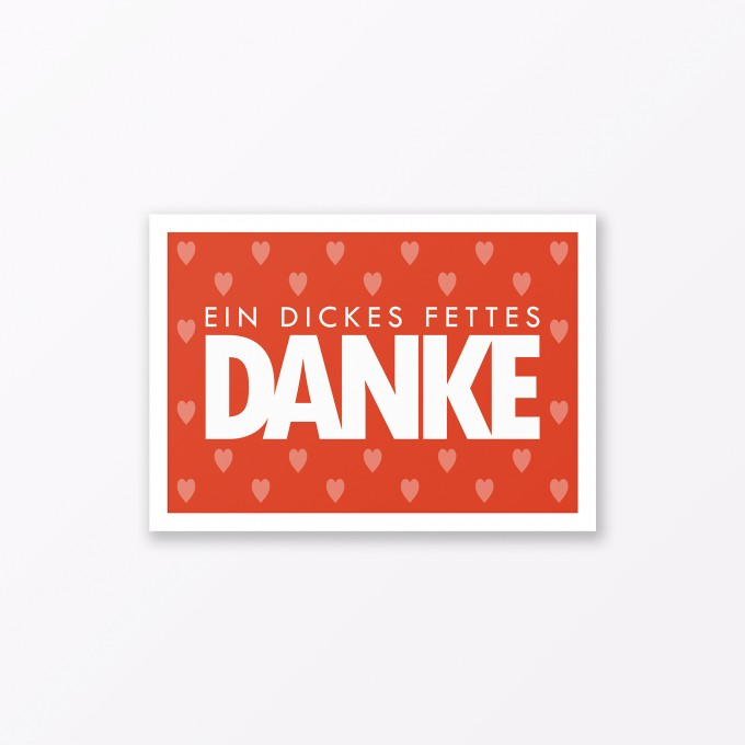 "TYPOP Postkarte ""Danke"" mit Herz ORANGE A6"