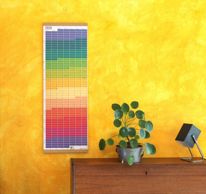 "Minimalistischer Wandkalender 2020 | Regenbogen | Umweltfreundlich gedruckt | Deutsch & Englisch | Nominiert für ""German Design Award 2019"" 