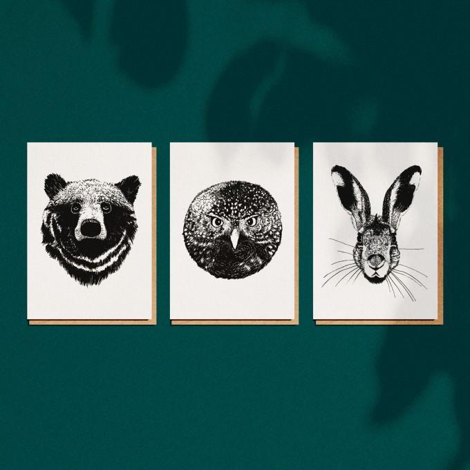 """3er Set Grußkarten """"Forest Animals"""", A6 mit Umschlag"""