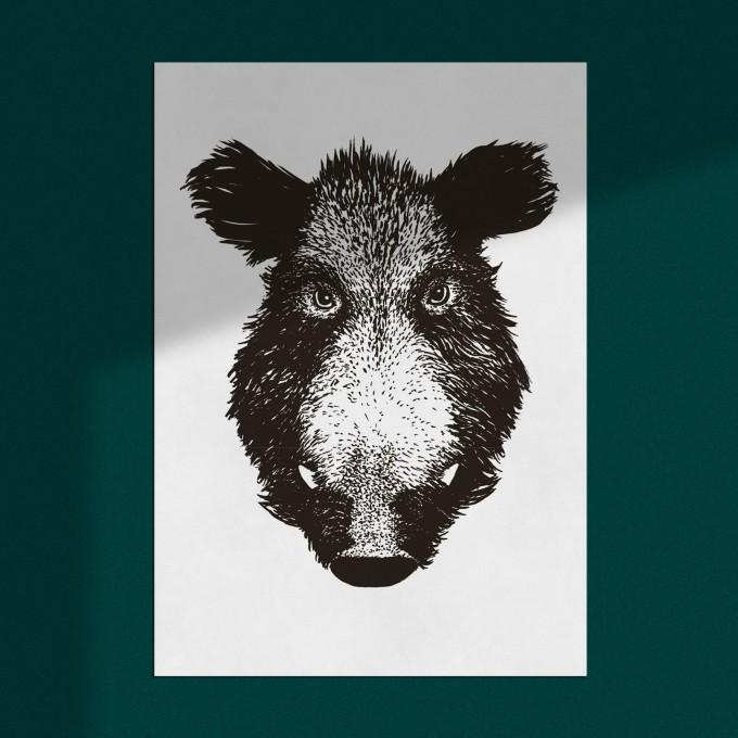 """Poster """"Wildschwein"""", Wanddeko, Riso Art Print, A3"""