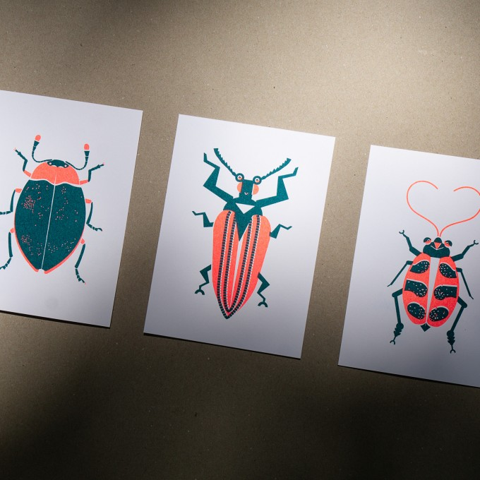 "3er Set Grußkarten ""Bugs-Lover"" Riso Art Print, neon orange"