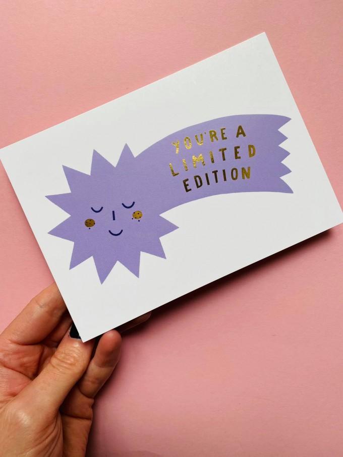 "Notietzblock Postkarte gold ""You're a limited edition"" Sternschnuppe"