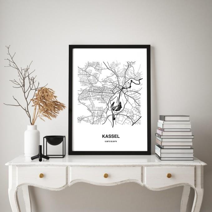 Stadtliebe® | Kassel - Karte black&white Kunstdruck A3