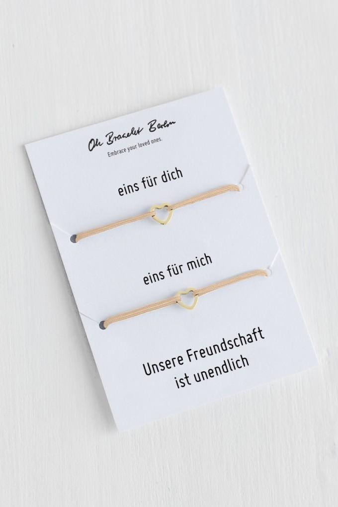 Oh Bracelet Berlin - 2er-Set: Freundschaftsarmband »Herz Outline« Farbe Gold