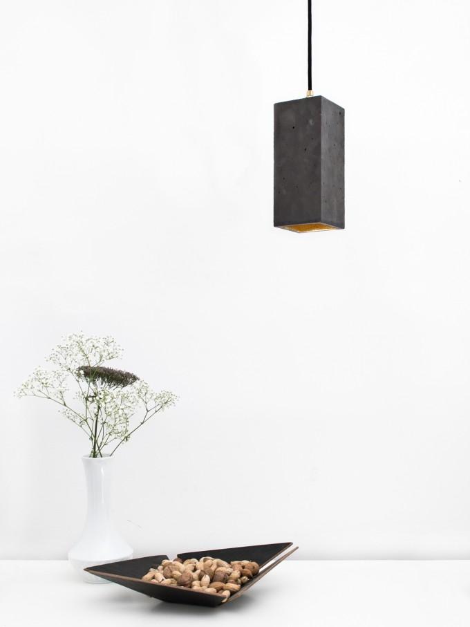 GANTlights - Beton Hängelampe [B2] dark Lampe Gold rechteckig