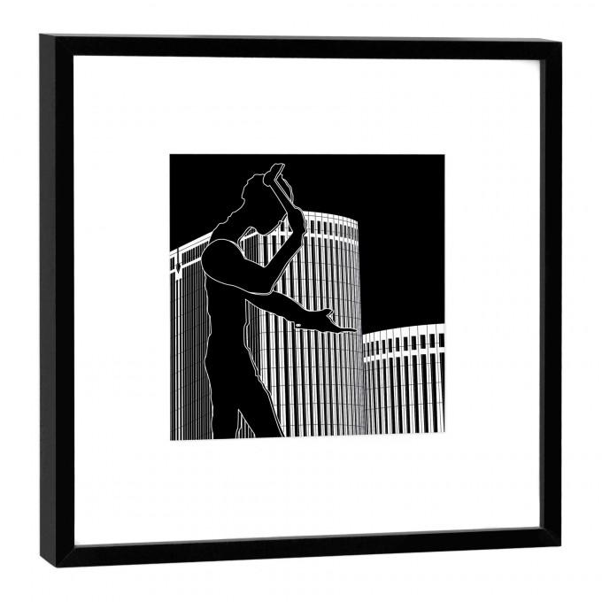 COGNOSCO Fine Art Print Hammering Man Frankfurt im Holzrahmen schwarz, 27 x 27 cm