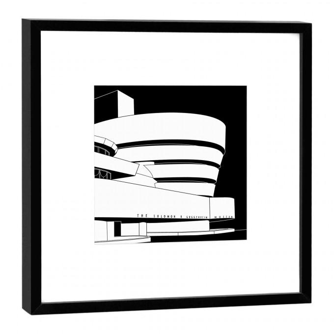COGNOSCO Fine Art Print Guggenheim New York im Holzrahmen schwarz, 27 x 27 cm