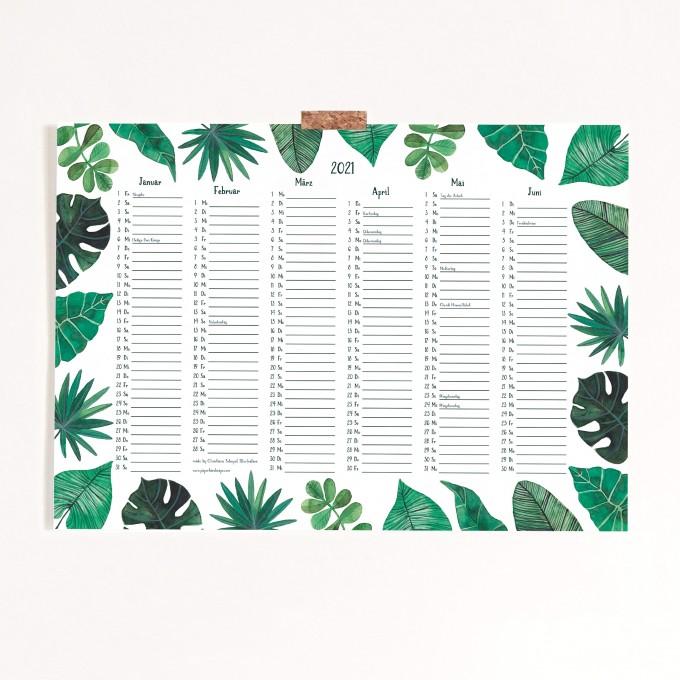 Paperlandscape | Kalender 2021 | Posterkalender A3 | Pflanzen Kalender | botanisch | tropische Blätter