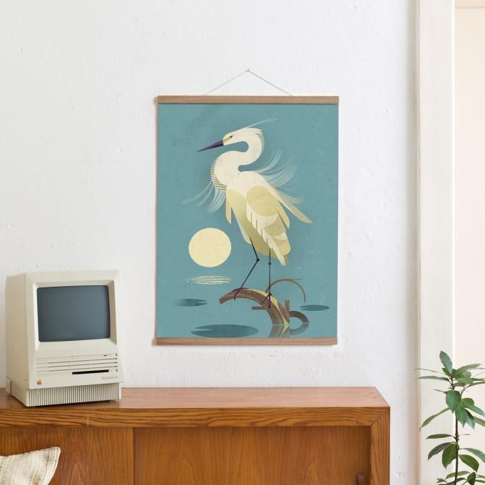 KLEINWAREN / VON LAUFENBERG Set / Little Egret + Magnetische Posterleiste Eiche 50 cm