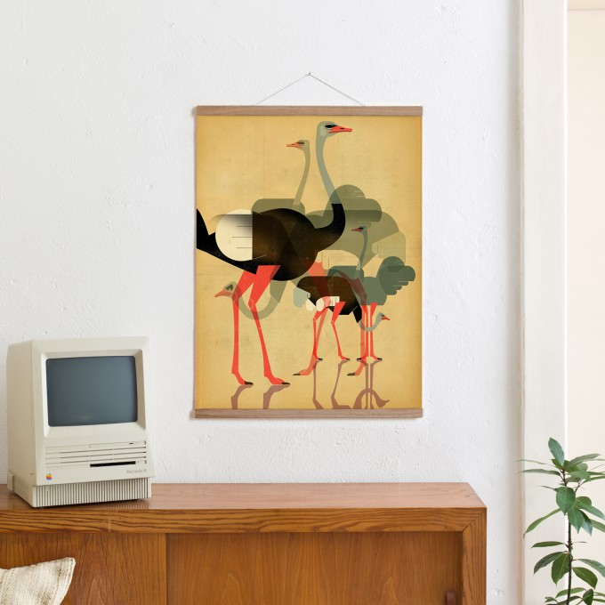 KLEINWAREN / VON LAUFENBERG Set / Ostriches + Magnetische Posterleiste Eiche 50 cm