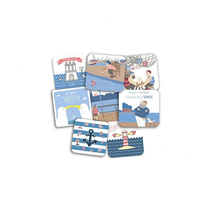 Stadtliebe® | Hamburg Bierdeckelpostkarten im 8er Set II | Verschiedene Motive