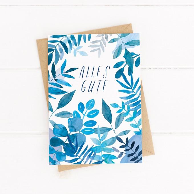 "Paperlandscape   Faltkarte ""Alles Gute blaue Blätter""   botanisch   Pflanzen   tropisch"