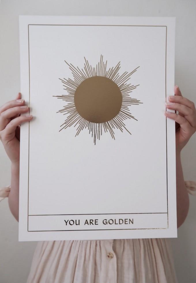 GOLDEN SUN - A3 Print mit Goldfolie - Anna Cosma