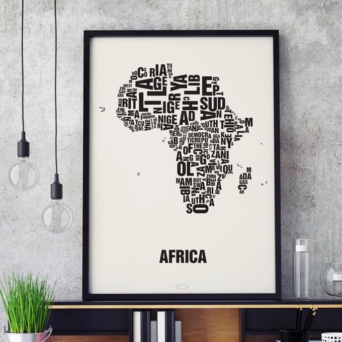 Buchstabenort Africa Stadtteile-Poster Typografie Siebdruck