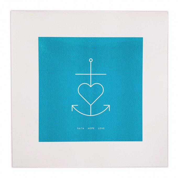 Feingeladen // SIMPLY DIVINE // Anchor Symbol »Faith Hope Love« (AQ), RISO-Kunstdruck, 30 x 30 cm