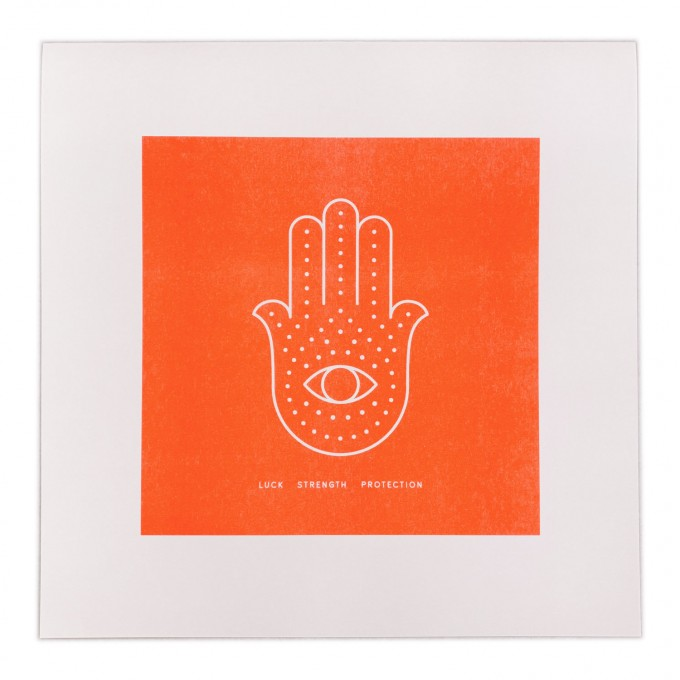 Feingeladen // SIMPLY DIVINE // Hamsa Hand »Luck Strength Protection« (FO), RISO-Kunstdruck, 30 x 30 cm